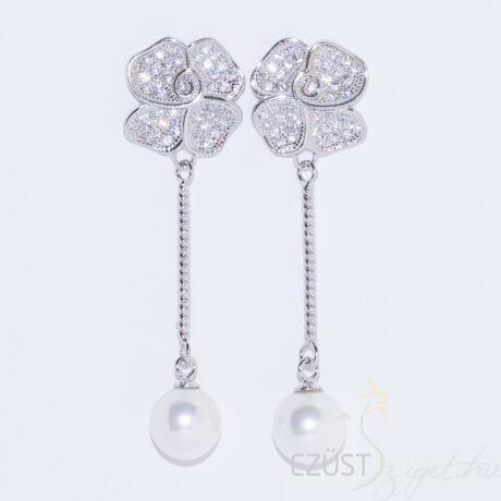 rózsa lógós ezüst fülbevaló