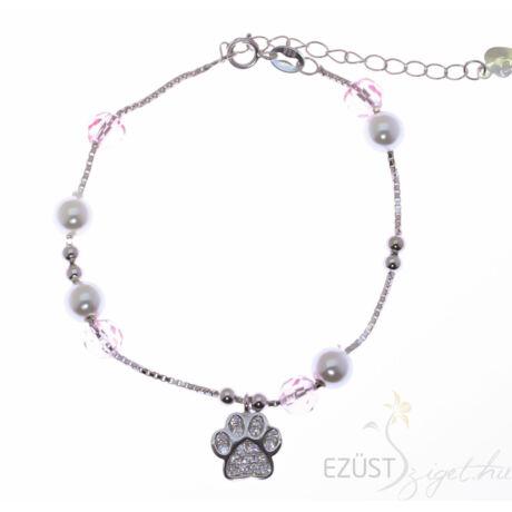 karkötő mancs medál rózsaszín gyöngy