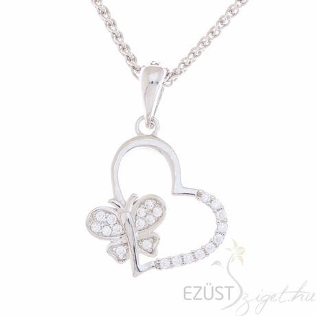 ezüst szív pillangó medál