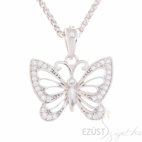ezüst köves pillangó, lepke medál