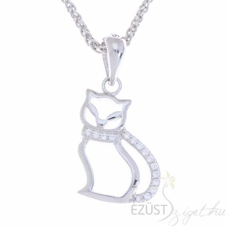 ezüst köves macska medál
