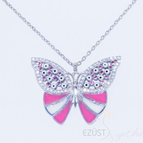 Tűzzománc Pillangó Nyakék Rózsaszín Fehér