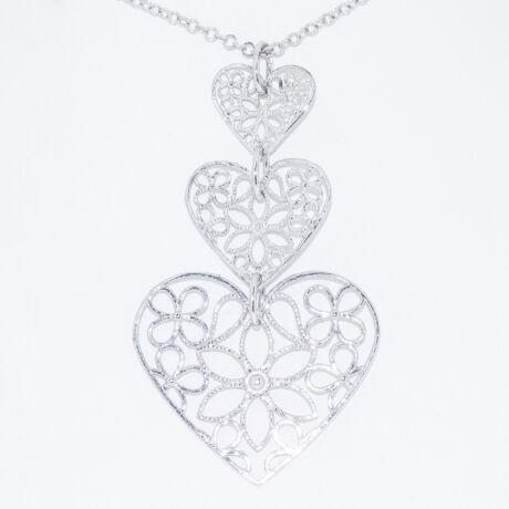 csipke szív ezüst nyakék