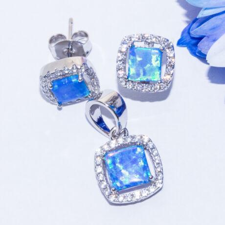 kék opál négyzet ékszer szett