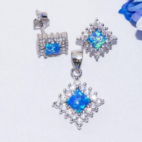 kék opál négyzet ezüst ékszer szett