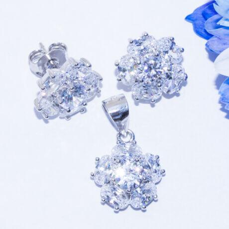 virág ezüst ékszer szett