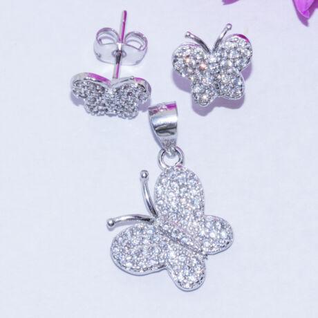 köves pillangó ezüst ékszer szett
