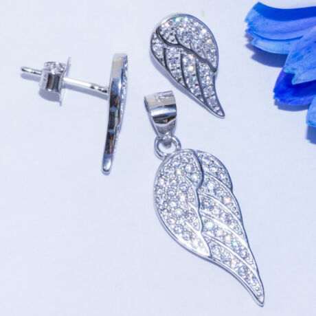 köves angyalszárny ezüst szett