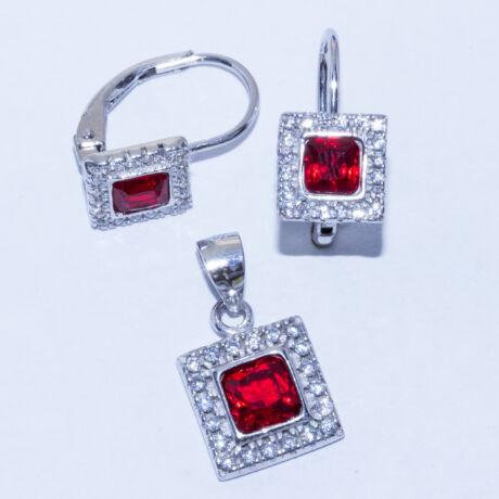 piros köves négyzet ezüst ékszer szett