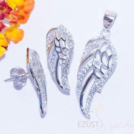 ezüst angyalszárny ékszer szett