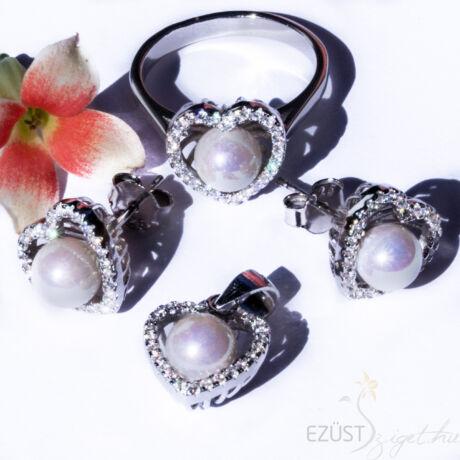 Gyöngy Szívben Ékszer szett gyűrűvel