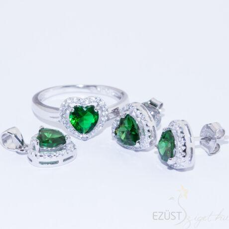 zöld szív ékszer szett