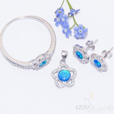 Kék Opál Virág Ékszer Szett