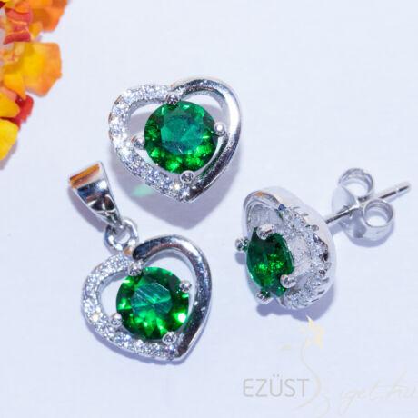zöld köves szív ékszer szett