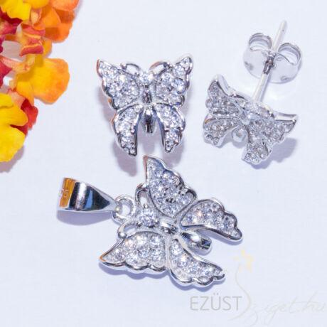 pillangó ezüst ékszer szett