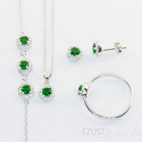 Smaragdzöld Köves Ékszer Szett