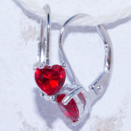 piros köves szív fülbevaló