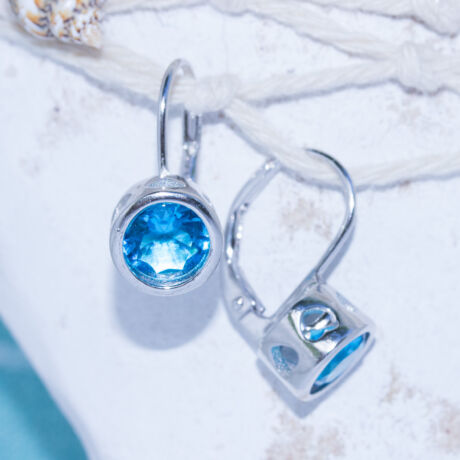 kerek köves fülbevaló kék