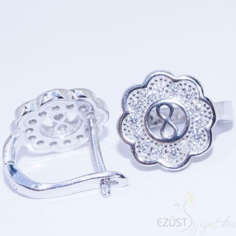 virág végtelen ezüst fülbevaló