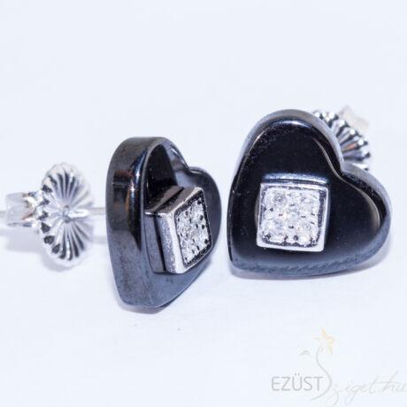 fekete porcelán szív fülbevaló