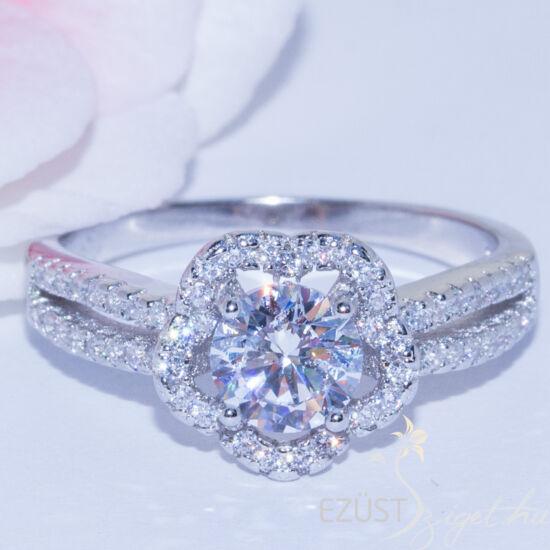 nagy köves virág gyűrű