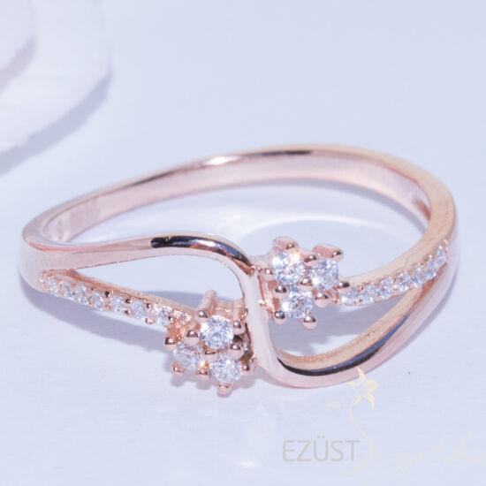 kis virág rose gold gyűrű