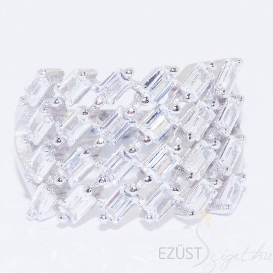 ezüst gyűrű hosszúkás kövekkel