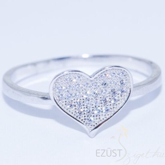 köves szív ezüst gyűrű