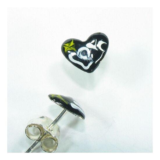 Fekete szívecske fülbevaló