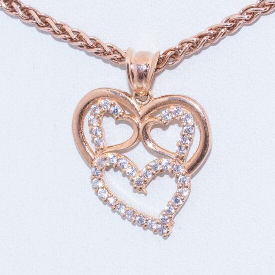 rose gold szívek ezüst medál