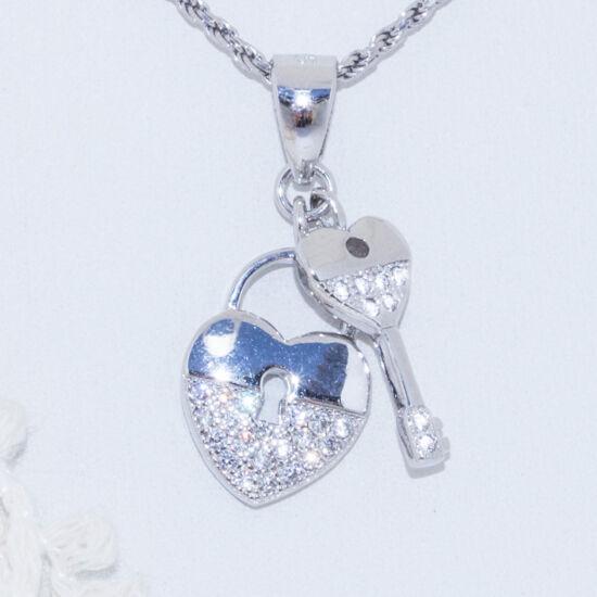 szív kulcs ezüst medál
