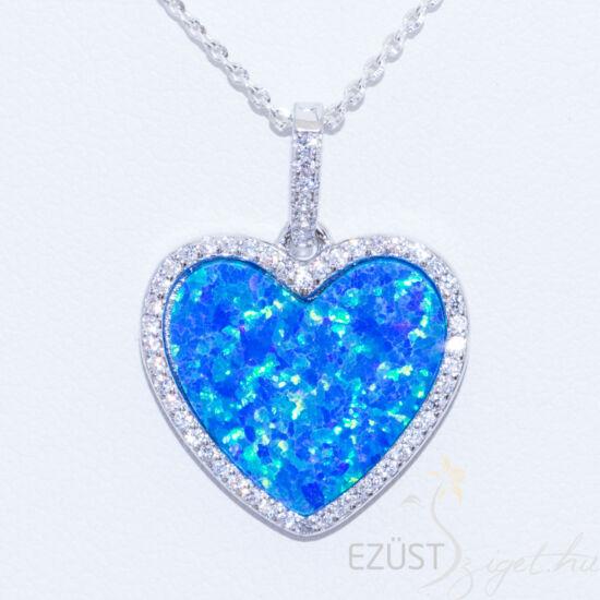 Kék Opálköves Szív Medál