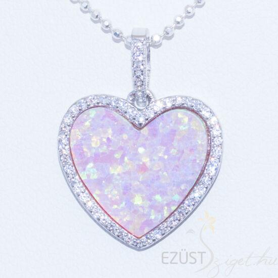 Rózsaszín Opálköves Szív Medál