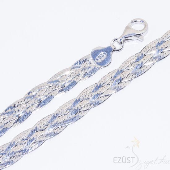 fényes ezüst fonat nyaklánc