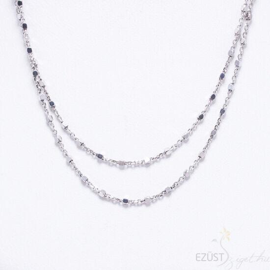 kocka gyöngyös ezüst nyaklánc