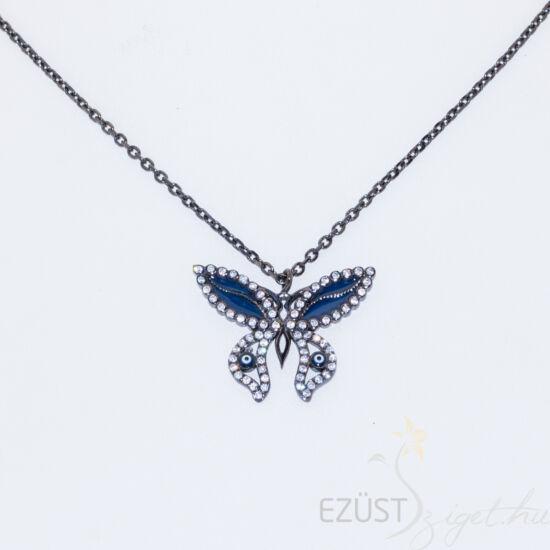 Fekete Ezüst Nyakék Köves Pillangóval