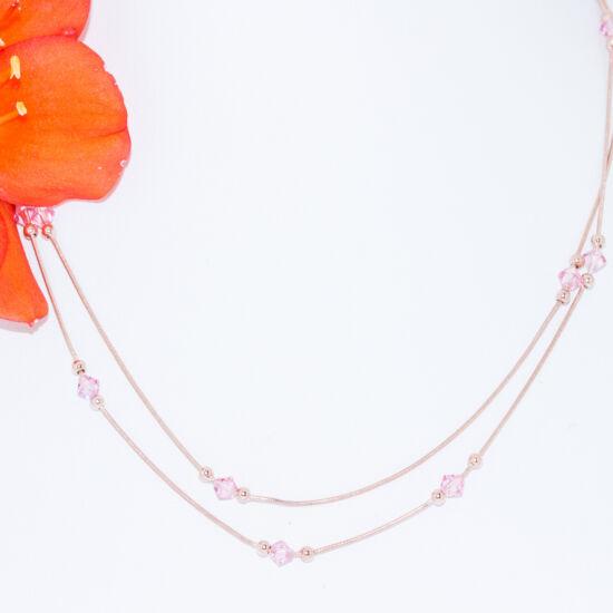 rózsaszín köves ezüst nyakék