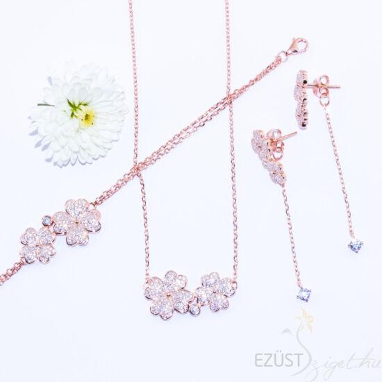 Rose Gold Virágok, Köves Ékszer Szett