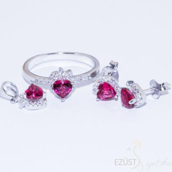 Rózsaszín Eper Szív Ékszer Szett