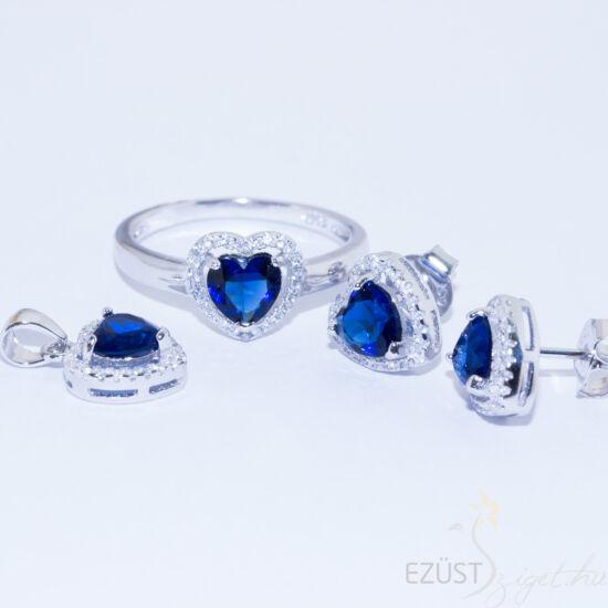Kék Köves Szív Ékszer Szett