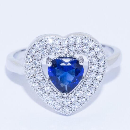 kék köves szív gyűrű