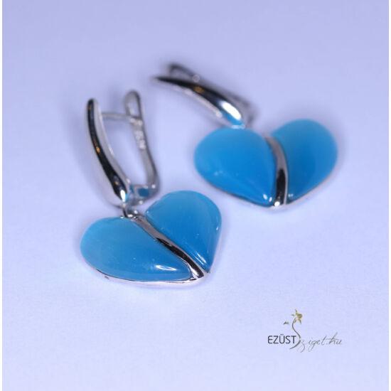 Kék selyem szív fülbevaló