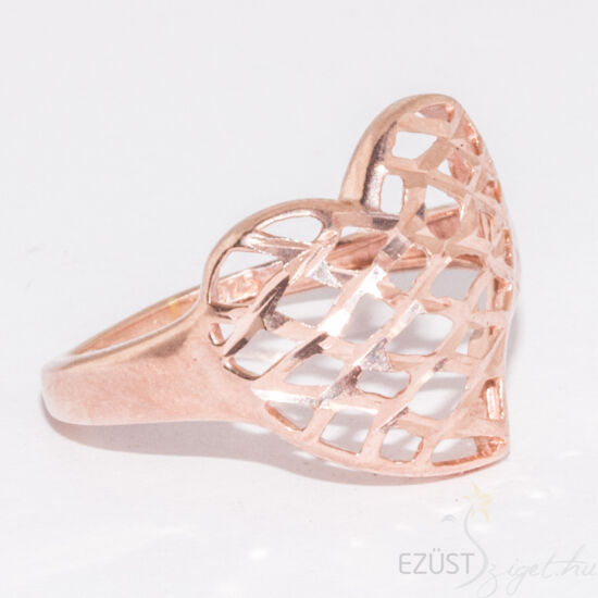Fénylő szív gyűrű Rose Gold Színben