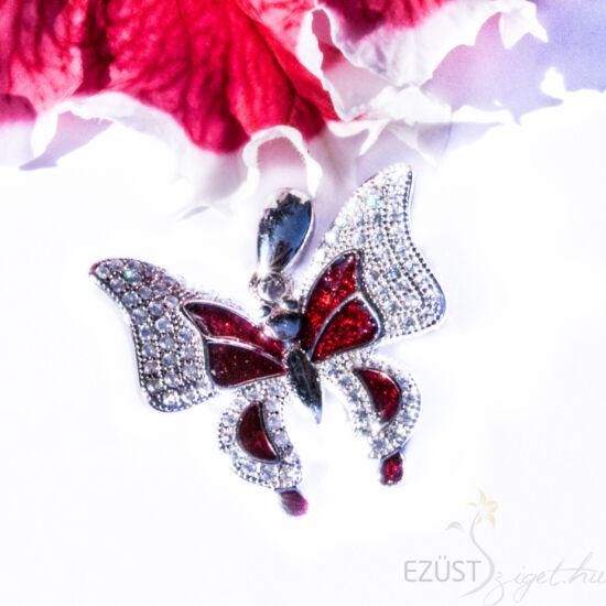 piros pillangó ezüst medál