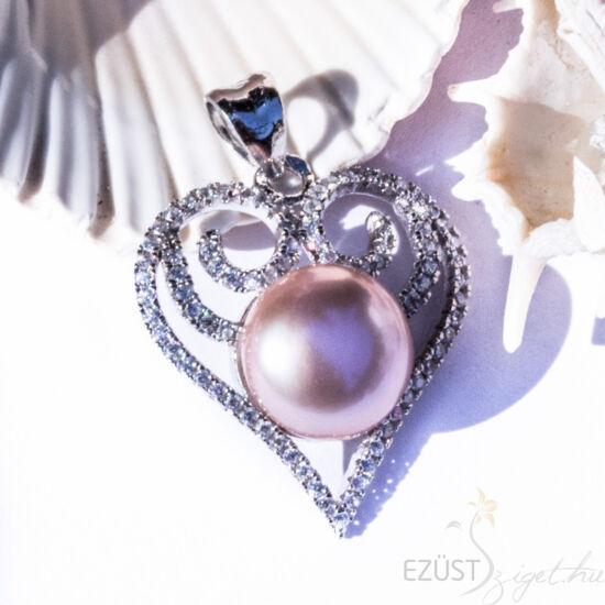 gyöngy szív ezüst medál