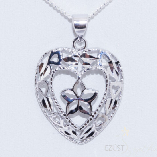 csiszolt szív ezüst medál