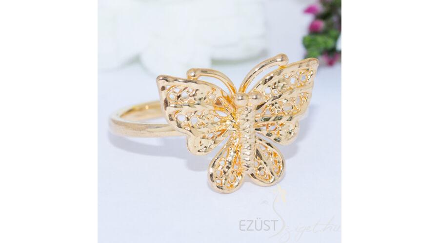 e624127e28 Csipke Pillangó Aranyozott Ezüst Gyűrű - GYŰRŰK KÖVEK NÉLKÜL - Ezüst ...